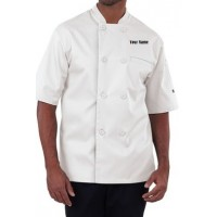 Premium men's Chef Coat W/ Custom Name Embroidery (WHITE)