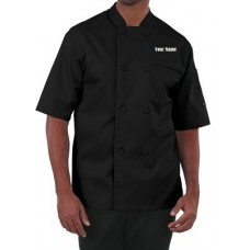 Premium men's Chef Coat W/ Custom Name Embroidery (BLACK)