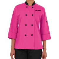 Premium Women's Chef Coat W/ Custom Name Embroidery (PINK)